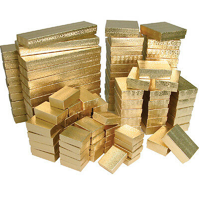 Gold Assorted Jewelry Gift Boxes Value Pack 5 Different Sizes - 100 Pieces