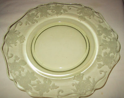 "4 Cambridge Glass Apple Blossom Yellow Plate 8 1/4"" Lunch Luncheon Plates"