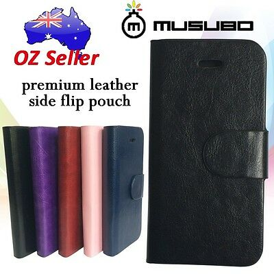 Genuine Musubo Leather cover case pouch with 3 card pouches HTC Desire 310