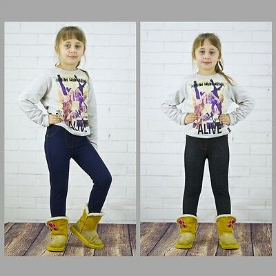 Winterleggings Warm Mädchen Leggins Leggings Hose Thermo Kinder Jeans ar13