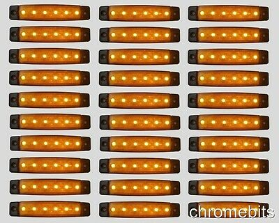 30 x 24V 24 VOLT SMD 6 LED YELLOW SIDE MARKER LIGHT POSITION TRUCK TRAILER LORRY