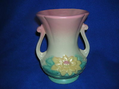 "Hull WATER LILY vase, L-4-6 1/2"", matte finish, double handles, pastel, ca. 1948"