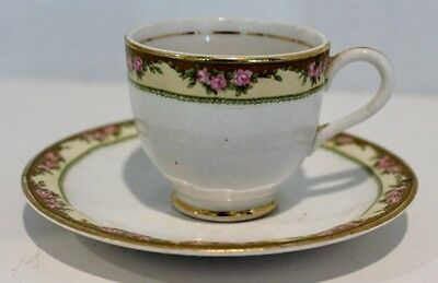 SEMI VITREOUS EDWIN H. KNOWLES CHINA CO. CUP AND SAUCER WITH GOLD GILT