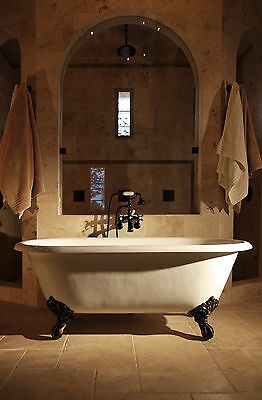 Double Ended Cast Iron Bath + Deck Taps & Waste/Trap Kit 1550mm With TH