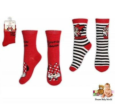 GIRLS 2 pairs socks - cotton mix socks DISNEY - Minnie Mouse
