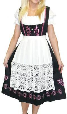 DIRNDL Trachten German Oktoberfest Dress EMBROIDERED 3 pcs LONG BLACK Waitress
