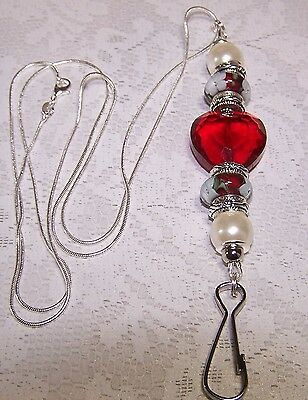 Red Crystal Heart With Red and White Murano Beaded Lanyard - Badge Holder