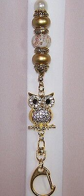 Gold Rhinestone Crystal Owl With Cream and Gold Beaded Lanyard / ID Badge Holder