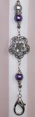 Silver Metal Flower With Purple and Silver Beaded Lanyard / ID Badge Holder