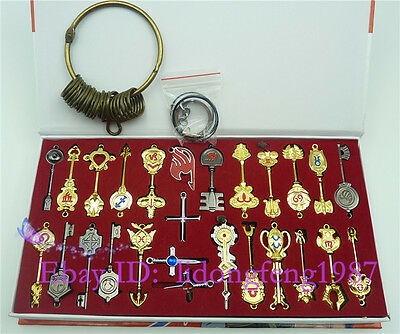 Fairy Tail 26 pcs of keys Lucy heart keychain Necklace Pendant Cosplay set New