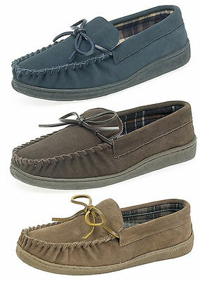 Mens Gents Real Suede Moccasin Slippers Size Uk 6 - 12
