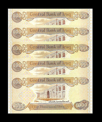 5,000 NEW IRAQI DINAR  (5 X 1,000)  New Uncirculated Lot Of 5 From New Bundle