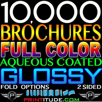 "10000 Brochures 9"" X 12"" Full Color 2 Sided 100Lb Glossy Aqueous Coated Folded"