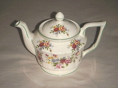 "Arthur Wood Vermont Pattern England 6.50"" Tea Pot Red Yellow Floral Green Trim"