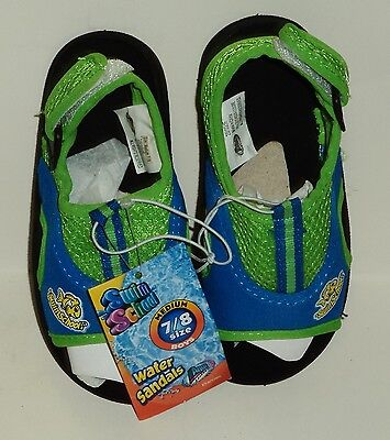 Kids Swim School Water Sandals Lime Green & Blue Easy On/Off Durable SZ Med 7/8