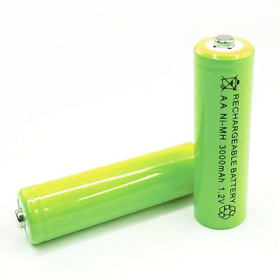 4 x AA Cell 3000mAh Ni-MH Rechargeable Battery Green For CD player camera flash
