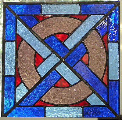 """ely"" Medieval Stained Glass Panel- Blue, Pale Blue And Pink With Red Inserts"