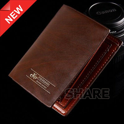 OZ Genuine Wallet Bifold Brown Leather Purse Business Mens Credit Card Holder