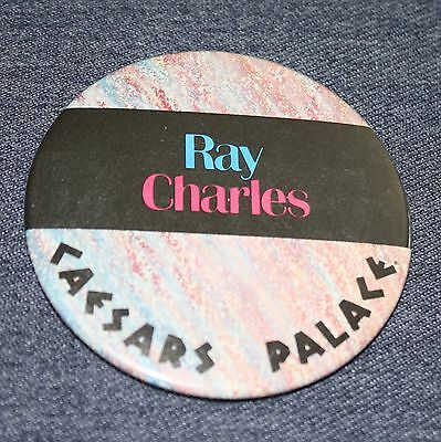 "Ray Charles 3"" Pin Back Button Las Vegas Caesars Palace Vintage Music"