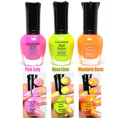 3 Kleancolor Nail Polish Neon Color Pink Lady, Neon Lime, Burst Lacquer 3Set16