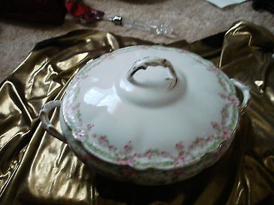 Antique VICTORIAN ROSE SWAG COVERED SEVERING DISH  Moschendorf Porcelain  1900,S