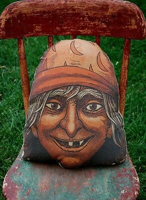Primitive Halloween early old vintage witch face head pillow throw decor party