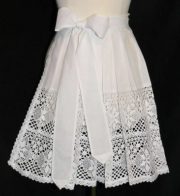 WHITE LACE APRON German Dirndl Oktoberfest Dress SHORT Waitress XS S M L XL 2XL
