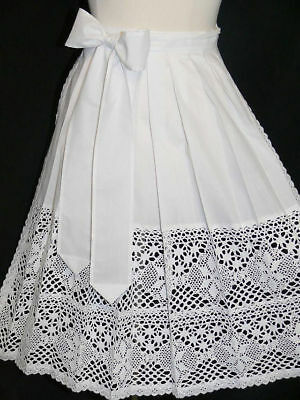 LACE APRON German Waitress Oktoberfest Dirndl Dress WHITE Long XS S M L XL 2XL