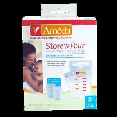 20 AMEDA BREAST MILK STORAGE FREEZER BAGS STARTER KIT x20 STORE N POUR NEW BOX!!