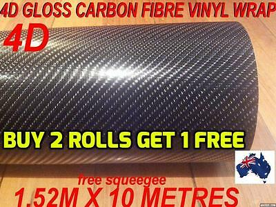 OZ 4D Gloss Carbon Fibre Car Vinyl Wrap Sticker1.52 X 10metre,  Wrap full Car