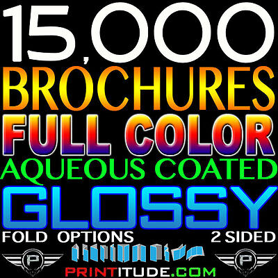 "15000 Brochure 9""x16"" Full Color 2 Sided 100Lb Glossy Aqueous Coated 9X16 Folded"