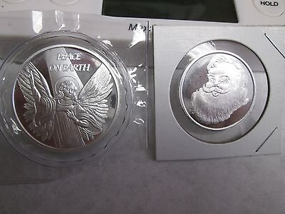 Christmas angel     Sants Claus 1 1/2 oz  .999 fine silver round coins