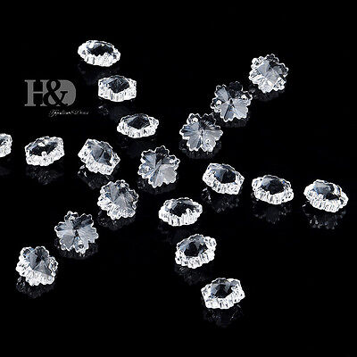 100 Clear Little Snowflake Crystal Glass Chandelier Lamp Parts Prisms Beads 14mm