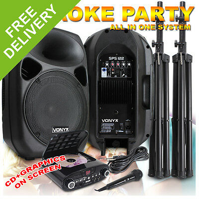 "NEW Karaoke Machine System - 12"" Active Speakers + Microphone + Machine 700W"