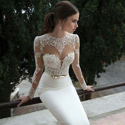 New Sexy White Ivory Lace Wedding Bridal Dress Gown Custom Size 4 6 8 10 12 14++