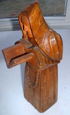 Wooden Carved Monk Reading Bible