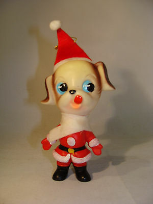 Vtg 1960's Santa Puppy Elf Helper? Cuteness personified! Santa Suit Dog Ornament