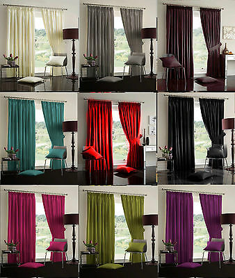 Faux Silk Fully Lined Ready Made Tape Top Pencil Pleat Curtains + Tie Backs