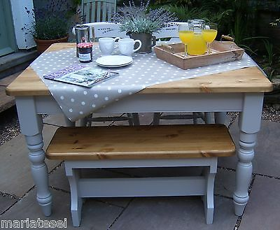 4 ft PINE Farmhouse Kitchen Dining Table Chairs Bench Painted COLOUR OPTIONS F&B