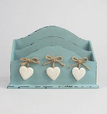 Wooden Letter Rack Holder Chic & Shabby 3 White Hearts Post Storage Delilah