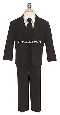 Boy's Kids 5 Pc Black Formal Dress Suit Tuxedo w/ Vest Jacket Shirt Tie All Size