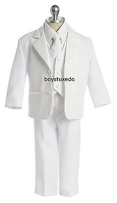 Boy's 5 Pc White Formal Suit Tuxedo w Jacket Vest Shirt Tie Sizes Infant to Teen