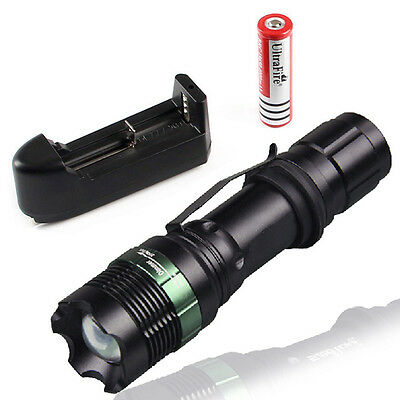 2200 LM CREE XM-L T6 LED 5-Mode Flashlight Torch light +18650 Battery +Charger D