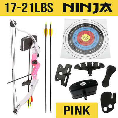 New 17-21 Lbs Apex Junior Kids Compound Bow Pink Archery Youth Hunting+Target