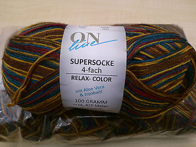 5x 100g ONline Supersocke 4-Fach -Relax Color mit Aloe -Sockenwolle,Farbe-1581