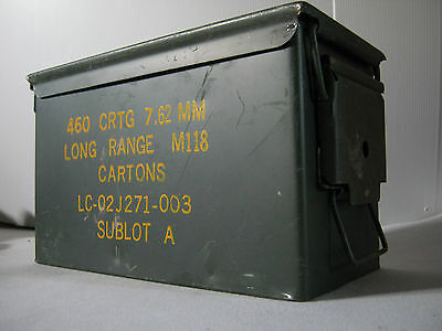 Nato 50 Cal Army Military Ammo Box Can Tin Metal Large Ammunition Tools Storage