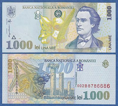 Romania 1000 Lei P 106 1998 UNC Low Shipping! Combine FREE!
