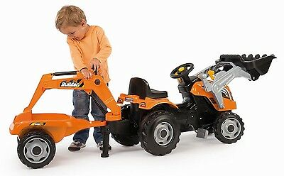 Pedal Tractor Loader & Trailer Kids Ride On Toy Game Boys Gripping Arm & Scoop