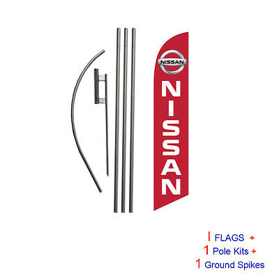 Nissan (red) 15' Feather Banner Swooper Flag Kit with pole+spike