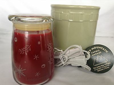 SAGE Woven Traditions Crazy Mountain CANDLE Warmer  & Longaberger RED Candle new
